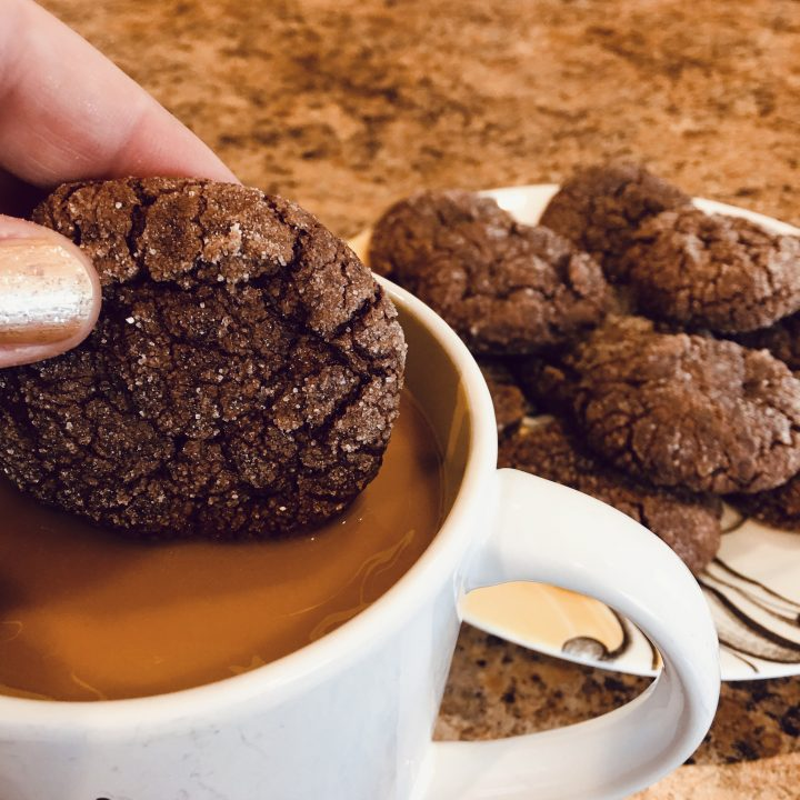 Mocha Crinkle Cookies with Espresso and Caffeine