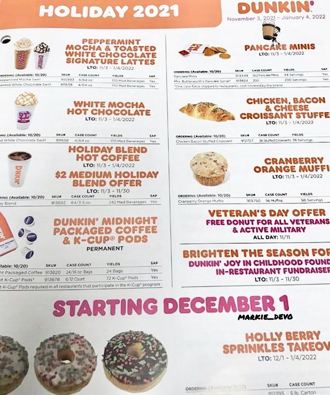 Dunkin Holiday Menu 2021