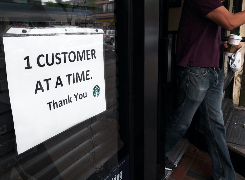 """Starbucks Sign """"One Customer At a Time"""""""